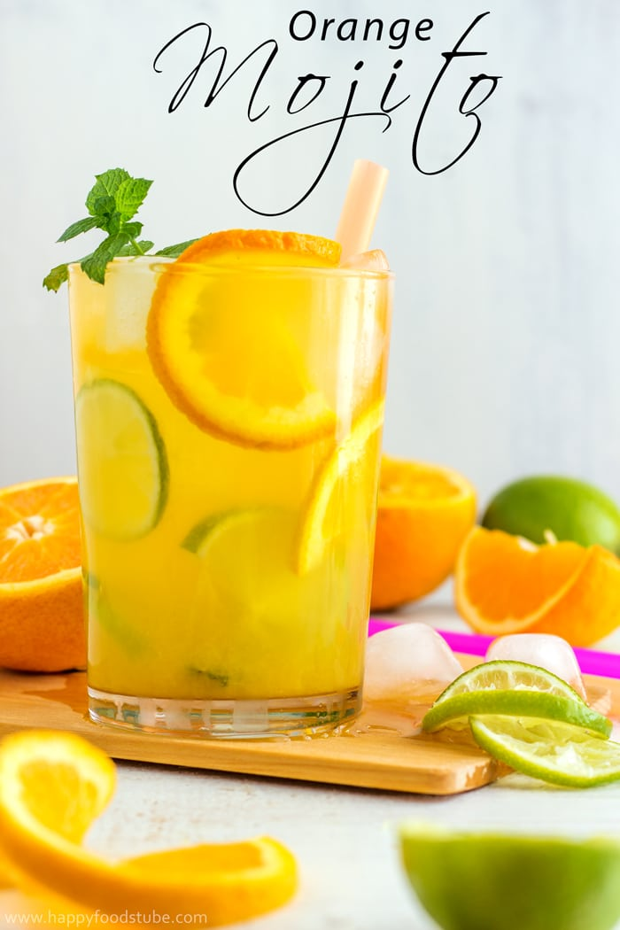 Best Cuban Orange Mojito - Ultimate summer cocktail recipe! Only 5 ingredients and super easy to make! | happyfoodstube.com