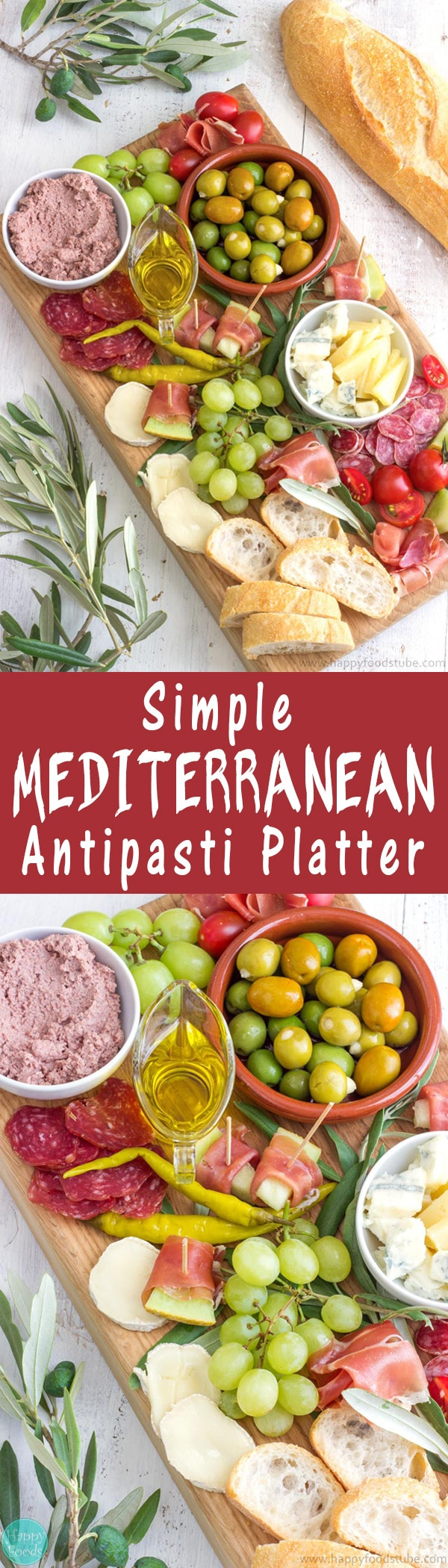 Mediterranean Antipasti Platter recipe. Easy party platter ideas! Olives, Extra Virgin Olive, Prosciutto/Salami/Bresaola, Cheese of your choice, Cherry Tomatoes, Grapes, Bread | happyfoodstube.com