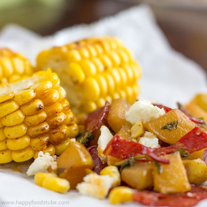 Easy Grilled Corn with Pear Chorizo Salad Recipe. Sweet corn lovers, it's a must-try this summer! | happyfoodstube.com