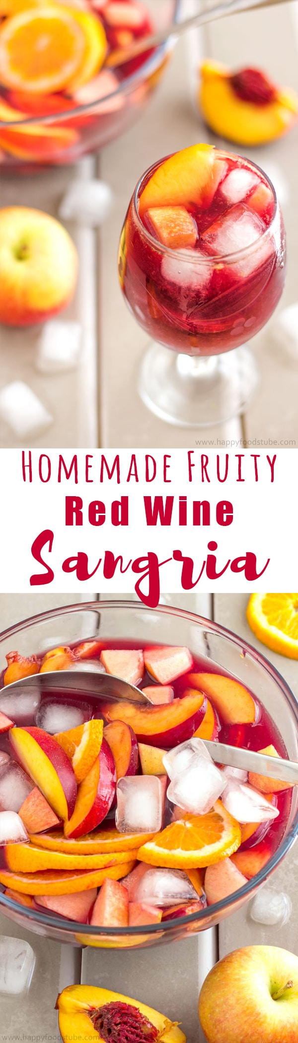 Homemade Fruity Red Wine Sangria. Super easy recipe. Nectarines, Apples, Oranges + Red Wine and Juice | happyfoodstube.com