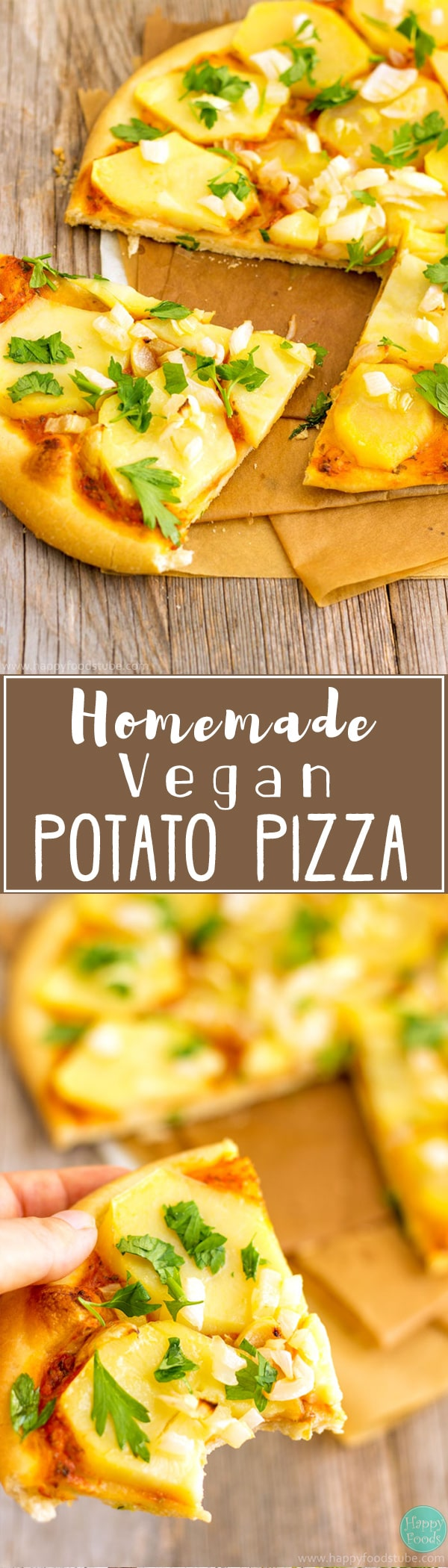 This Homemade Vegan Potato Pizza is loaded with simple yet flavorful ingredients! Delicious & healthier version of the classic cheesy pizza | happyfoodstube.com