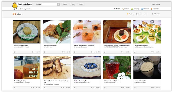 Best Food Photo Recipe Sharing Websites - Food Blogger Resources - Instructables | happyfoodstube.com