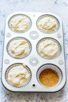 Cupcake Tray with Mini Peach Cheesecakes