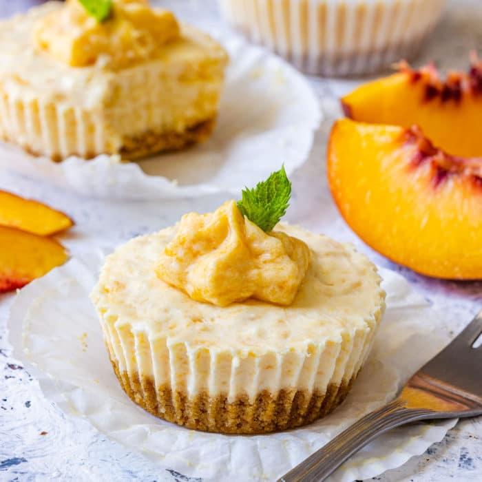 Mini Peach Cheesecakes