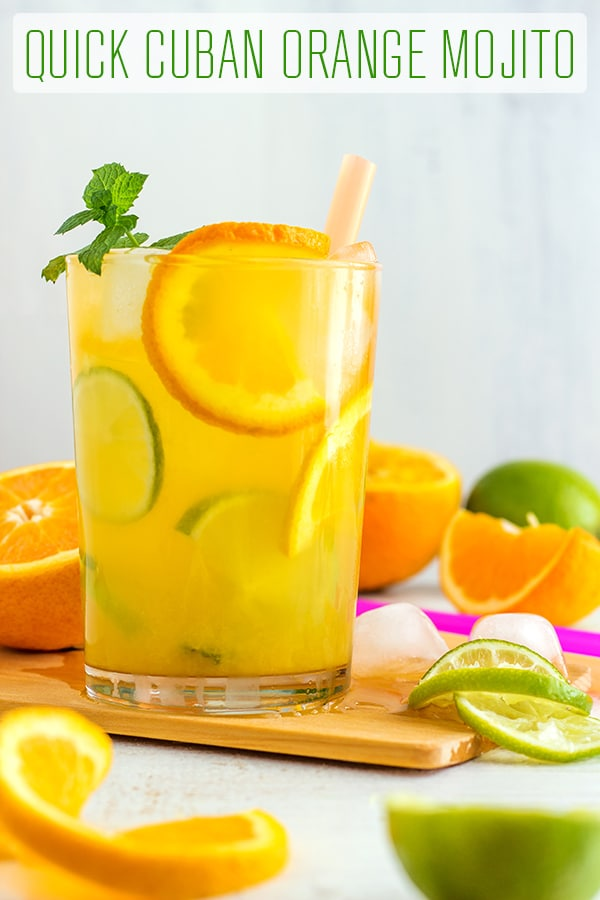 Easy Cuban Orange Mojito - Ultimate summer cocktail recipe! Only 5 ingredients and super easy to make. #happyfoodstube #orange #mojito #cocktail #recipe #summer #drink #cuban #alcohol #howtomake