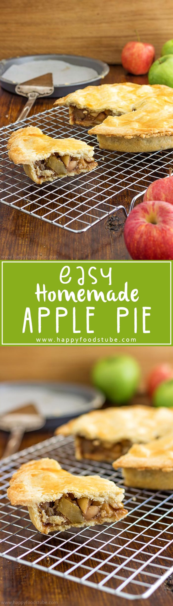 Easy homemade apple pie recipe with shortcrust pastry is as delicious as it sounds! Made from scratch including the pastry crust and simple apple pie filling! Only 4 ingredients! | happyfoodstube.com