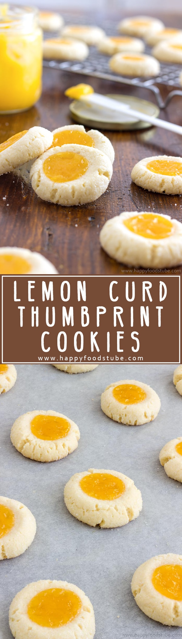 Homemade lemon curd thumbprint cookies are pure perfection! A combination of sweet buttery cookies and citrusy topping with a hint of almonds! Super easy recipe. | happyfoodstube.com