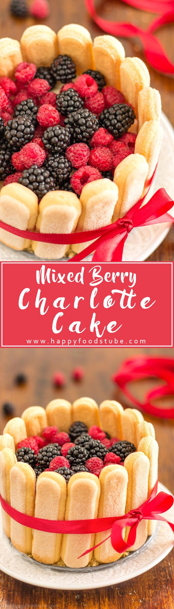 No Bake Mixed Berry Charlotte Cake will definitely satisfy your taste buds! Base made of ladyfingers is followed by creamy mascarpone filling and topped with fresh mixed berries! | happyfoodstube.com