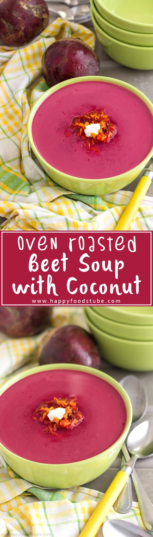 Oven roasted beet soup is a healthy soup with earthy, sweet flavor & a hint of coconut. Another simple vegetarian recipe with lots of flavors. Creamy beet soup