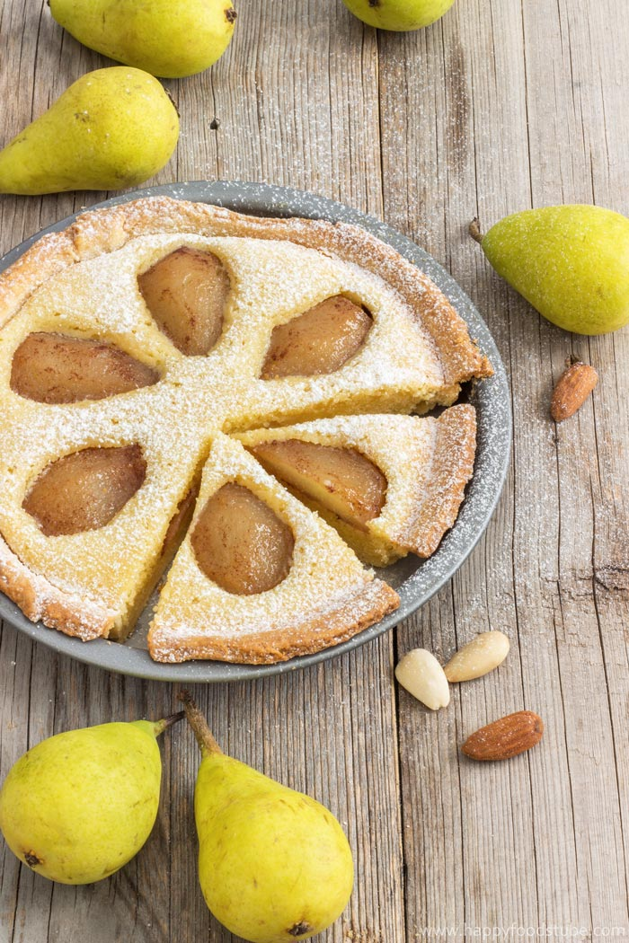 Rustic Pear Frangipane Tart Photo | happyfoodstube.com