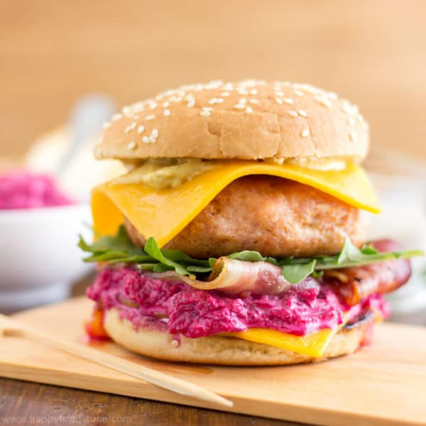 Chicken Cheeseburger with Beet Mayo Recipe | happyfoodstube.com