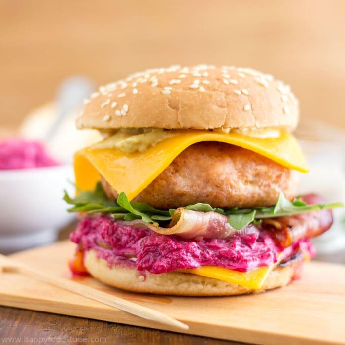 Chicken Cheeseburger with Beet Mayo Recipe | happyfoodstube.com