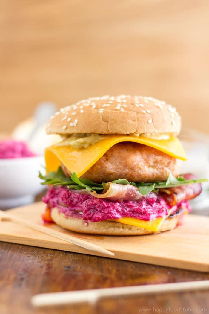 Best Chicken Cheeseburger with Beet Mayo Recipe   happyfoodstube.com