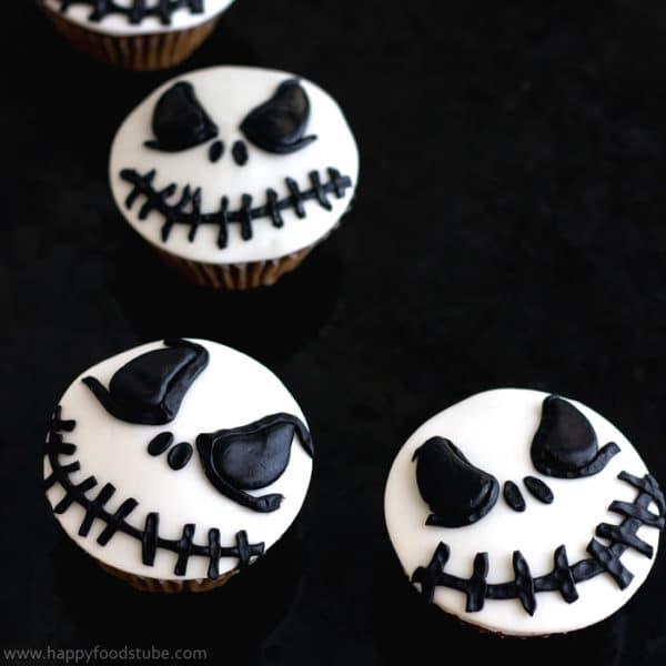 Halloween Jack Skellington Cupcake Toppers (Video Tutorial)