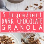 Homemade 5 Ingredient Dark Chocolate Granola Recipe. This healthy breakfast or snack is also gluten free & nut free!   happyfoodstube.com