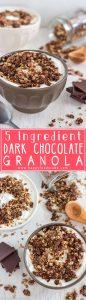 Homemade 5 Ingredient Dark Chocolate Granola Recipe. This healthy breakfast or snack is also gluten free & nut free! | happyfoodstube.com