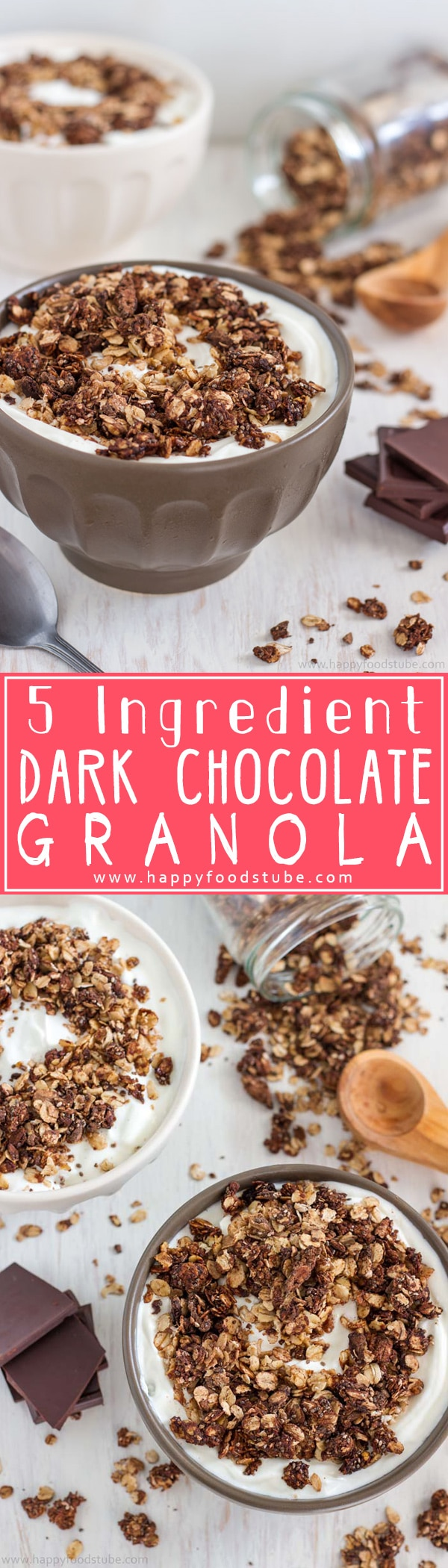 Homemade 5 Ingredient Dark Chocolate Granola Recipe. This healthy breakfast or snack is also gluten free & nut free! | happyfoodstube.com
