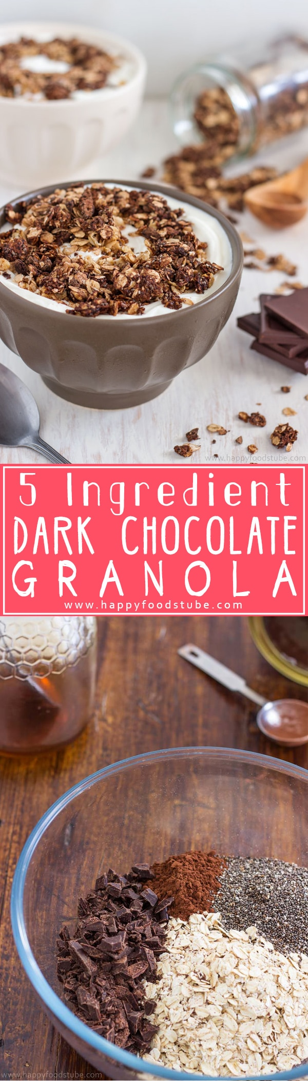 How to make Dark Chocolate Granola Recipe. This healthy breakfast or snack is also gluten free & nut free! | happyfoodstube.com
