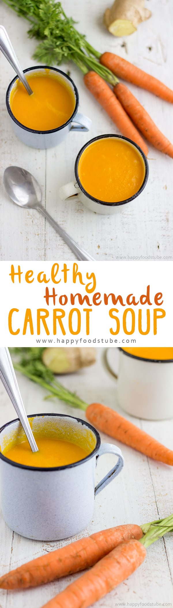 Homemade Healthy Carrot Soup with Ginger. It's creamy, sweet and rich in antioxidants! A perfect soup for Thanksgiving dinner! | happyfoodstube.com