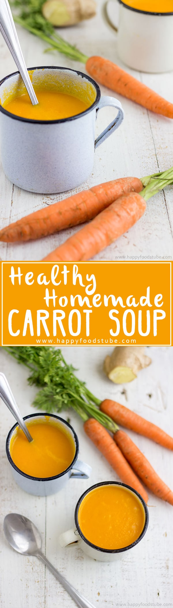 Homemade Healthy Carrot Soup with Ginger. It's creamy, sweet and rich in antioxidants! Only 5 ingredients. Ready in 30 minutes | happyfoodstube.com