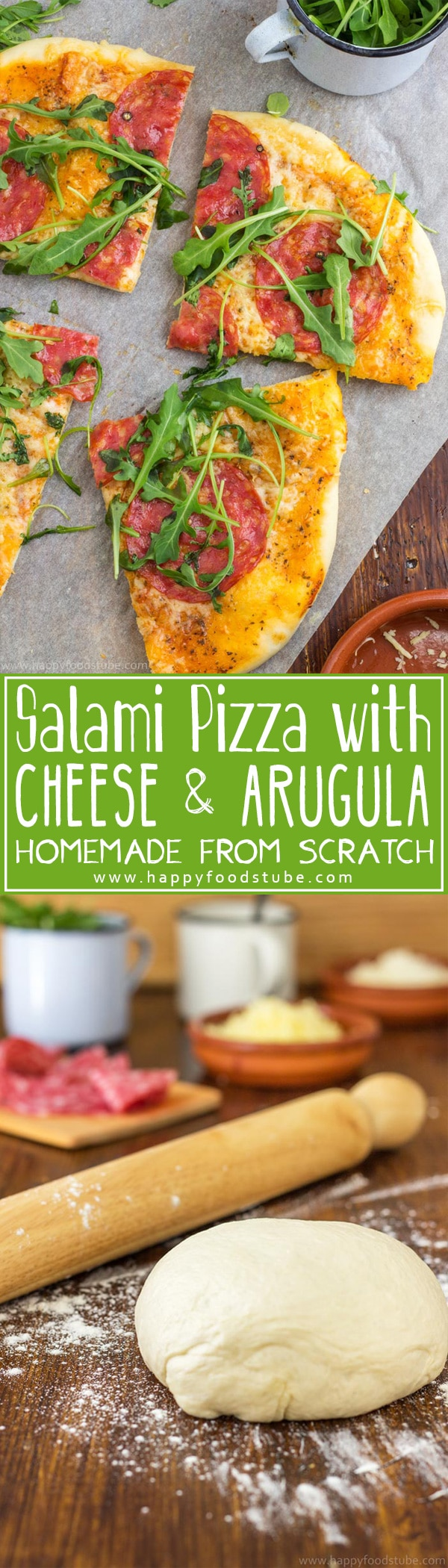 Pizza time! Salami pizza with cheese and arugula is waiting for you. Homemade pizza dough, pizza sauce from scratch and simple yet mouth-watering toppings. Only 5 ingredients