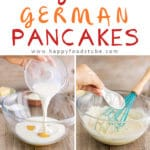 German Pancakes (Dutch Baby Pancakes) are the best pancakes you can get! Buttery, oven baked pancakes topped with raspberries, lemon curd & melted chocolate! Step by step recipe! | happyfoodstube.com