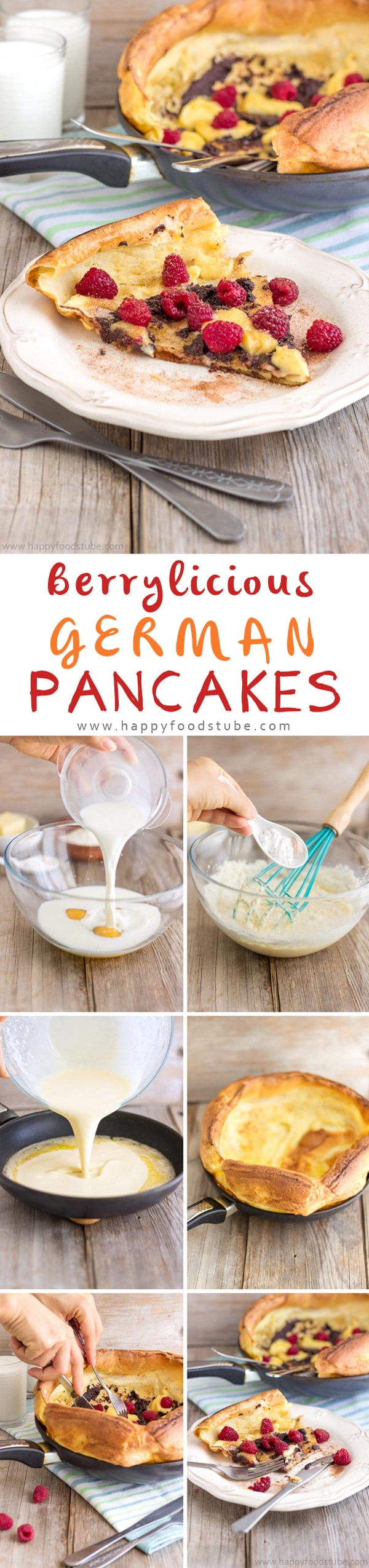 German Pancakes Recipe (Dutch Baby Pancakes) are the best pancakes you can get. Buttery, oven baked pancakes topped with raspberries, lemon curd & melted chocolate. Step by step recipe