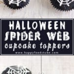 How to Make Halloween Spider Web Cupcake Toppers. Super Easy Cupcake Decorating Tutorial. They are made with royal icing and you need only simple tools! No template needed!   happyfoodstube.com