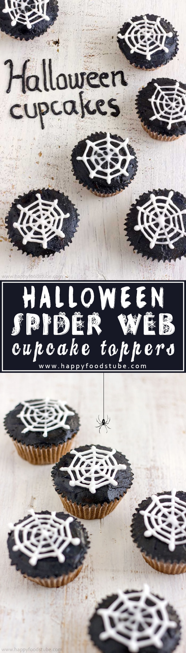 How to Make Halloween Spider Web Cupcake Toppers. Super Easy Cupcake Decorating Tutorial. They are made with royal icing and you need only simple tools. No template needed. #halloween #cupcakes #spiderweb