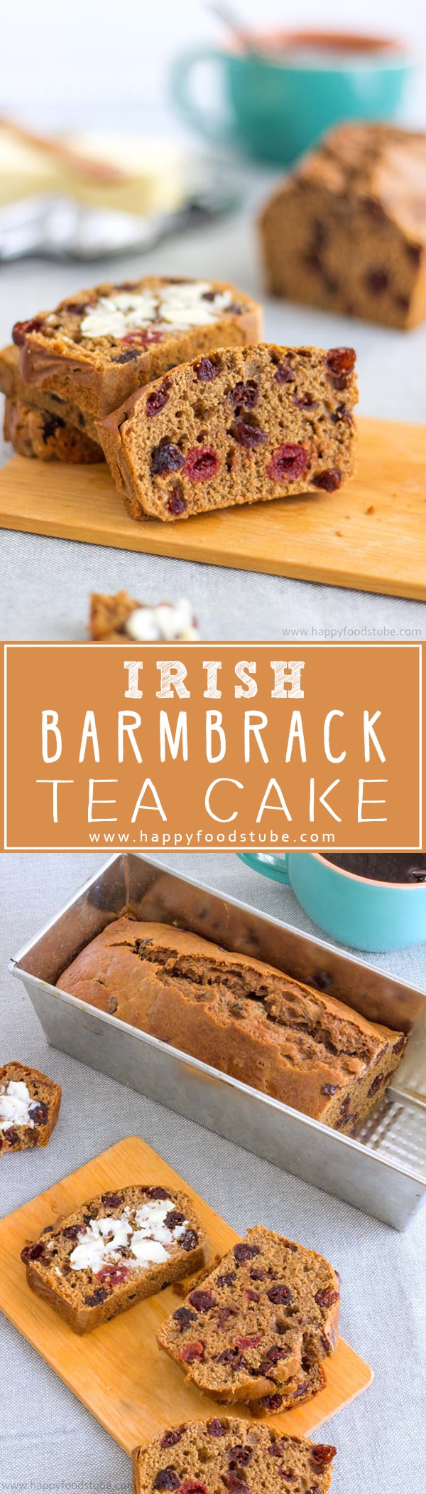 This traditional Irish Barmbrack Tea Cake is a perfect afternoon treat. Dried fruit and spices make it extra delicious, also it is yeast-free recipe. #barmbrack #irish #bread #halloween #teacake #fruitcake #sweetbread #traditional #recipe #baking #authentic