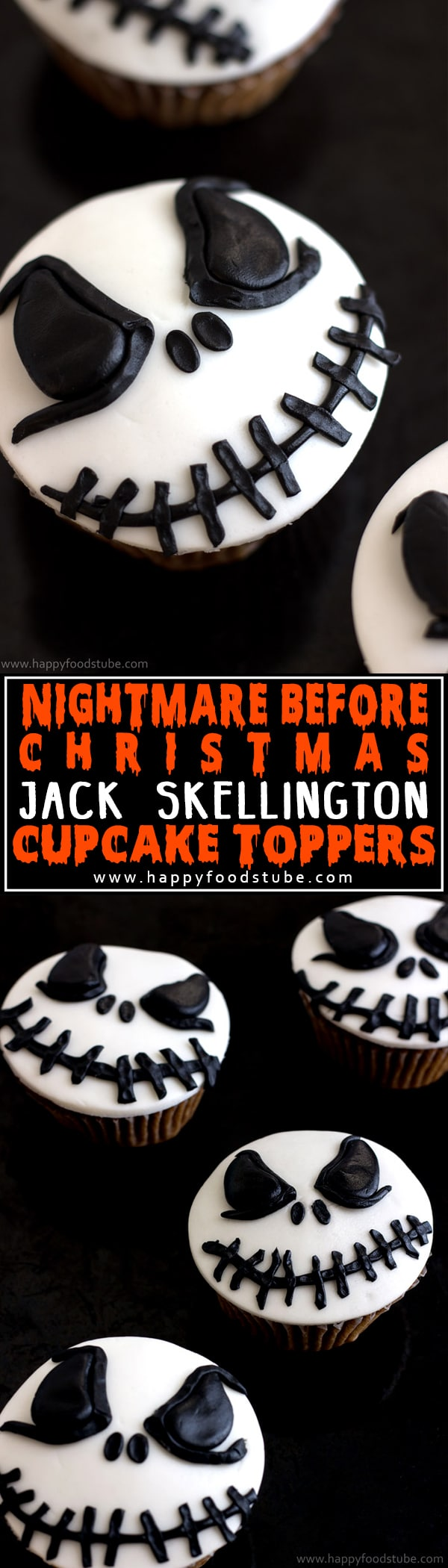 How to make Nightmare Before Christmas Jack Skellington Cupcake Toppers. Easy cake/cupcake decorating tutorial! | happyfoodstube.com
