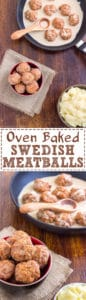 Homemade Oven Baked Swedish Meatballs Recipe! This hearty dish, served with creamy sauce and mashed potatoes is a classic comfort food! | happyfoodstube.com
