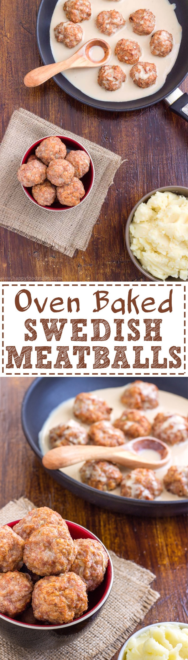 Homemade Oven Baked Swedish Meatballs Recipe! This hearty dish, served with creamy sauce and mashed potatoes is a classic comfort food. | happyfoodstube.com