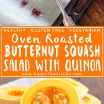 Healthy Roasted Butternut Squash Salad with Quinoa and Pomegranate. Only 5 ingredients and ready in 30 minutes. Gluten free & vegetarian recipe! | happyfoodstube.com