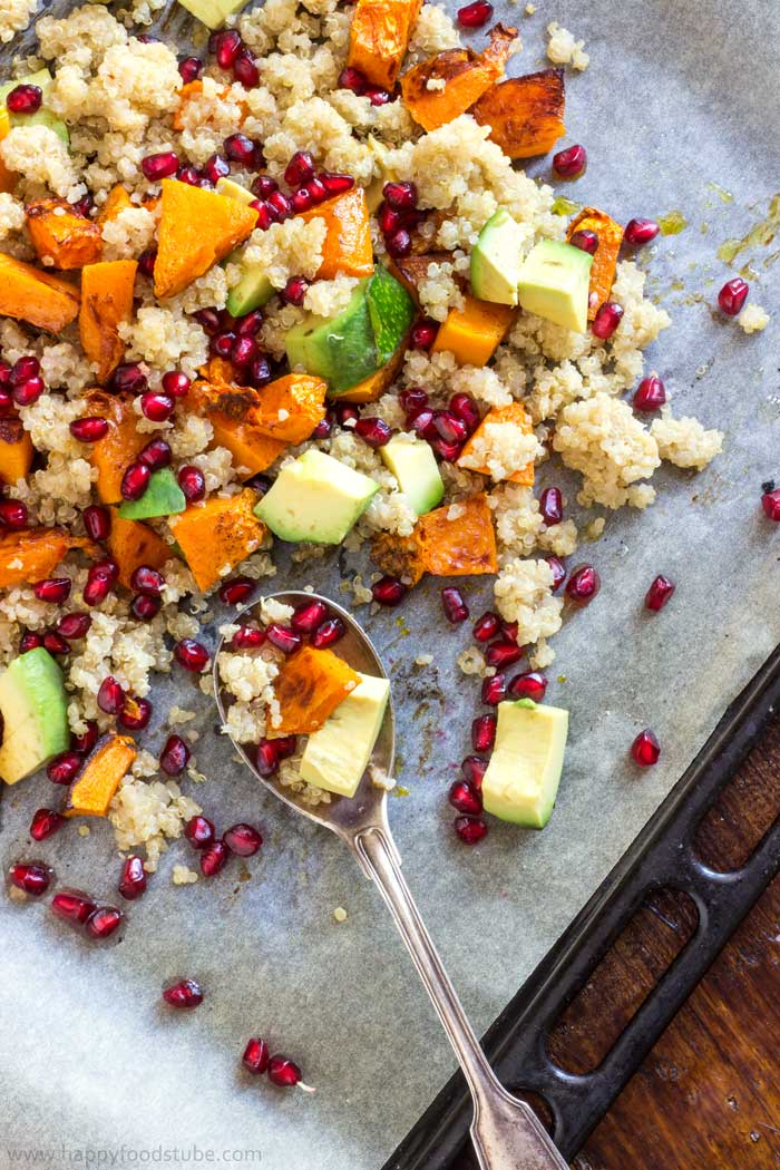 Oven Roasted Butternut Squash Salad with Quinoa and Pomegranate. Packed with vitamins, minerals and antioxidants! It is a perfect fall salad!   happyfoodstube.com