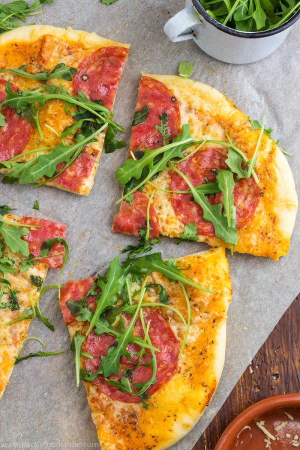 Salami pizza with cheese and arugula is waiting for you! | happyfoodstube.com