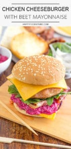Chicken Cheeseburger with Beet Mayonnaise
