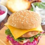 Chicken Cheeseburger with Beet Mayonnaise