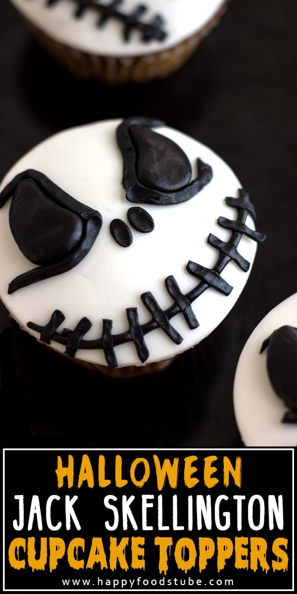 Learn how to make scary Halloween Jack Skellington Cupcake Toppers. Few tools + black & white fondant is all you need for this tutorial. Easy cake/cupcake decorating video tutorial. #happyfoodstube #halloween #jackskellington #cupcakes #tutorial #scary #fondant