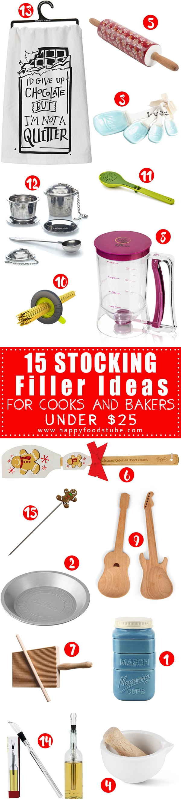 The Holiday season is fast approaching so I made this list of 15 stocking fillers gift ideas! If you have friends or family members who love to cook or bake then this list is for you! | happyfoodstube.com