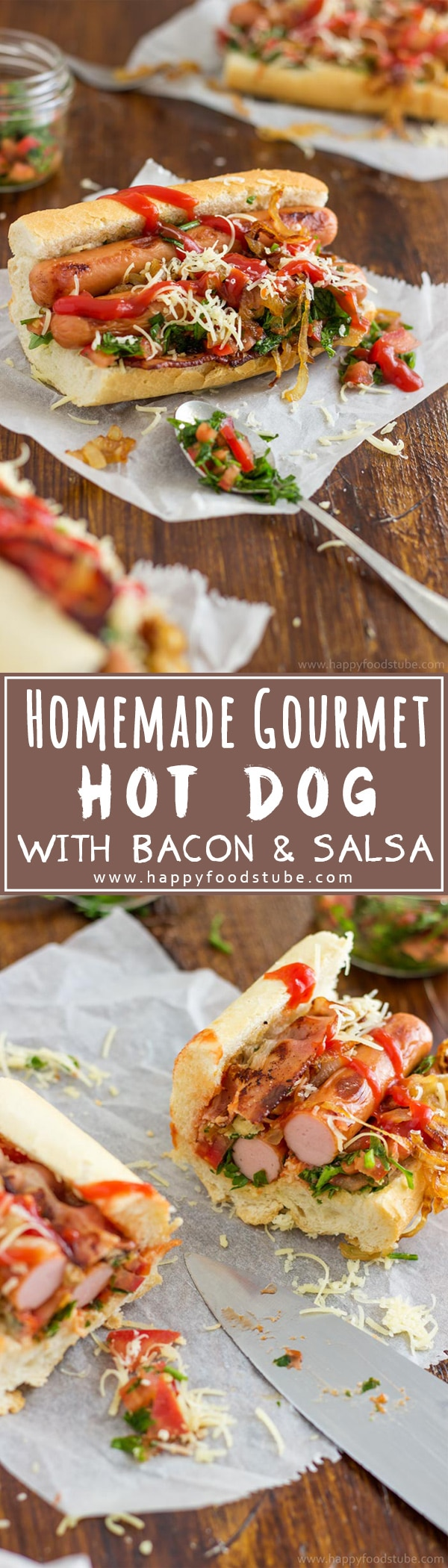 Homemade gourmet Hot Dog with bacon and salsa, topped with caramelized onions & cheese is a dream come true for your taste buds! | happyfoodstube.com
