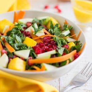 Healthy Kale Salad with Mango Dressing | happyfoodstube.com