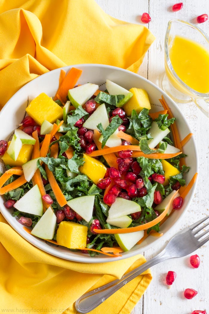 Super Healthy Kale Salad with Mango Dressing. Easy Vegetarian Recipe | happyfoodstube.com