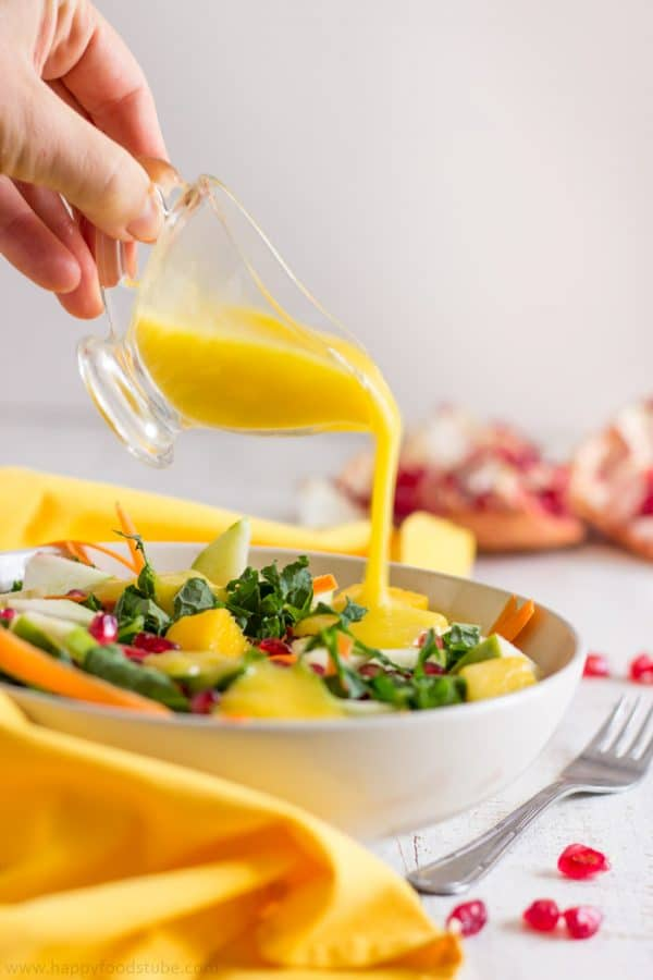 Healthy Kale Salad with Mango Dressing. Easy Vegetarian Recipe. Ready in just 15 minutes | happyfoodstube.com