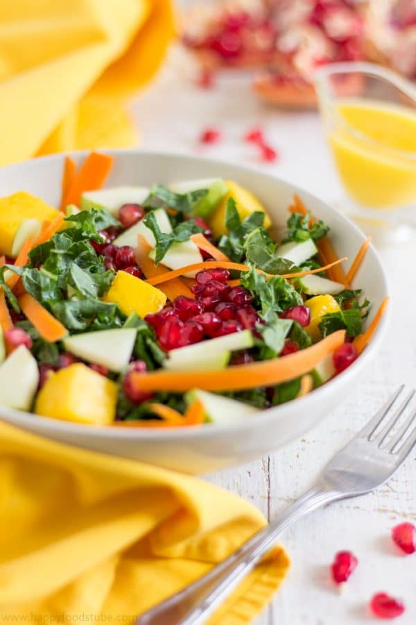 Healthy Kale Salad with Mango Dressing. Easy Vegetarian Recipe | happyfoodstube.com