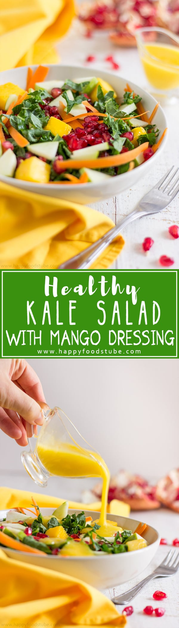 Healthy Kale Salad with Mango Dressing is perfect after Thanksgiving! It's light, ready in less than 15 minutes, nutritious & easy to make! | happyfoodstube.com