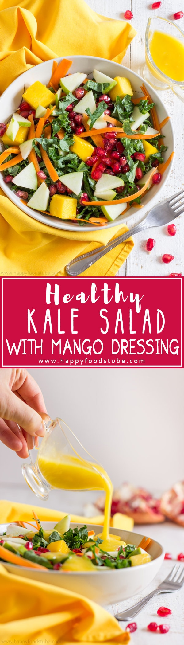 Super Healthy Kale Salad with Mango Dressing! Easy vegetarian recipe. It's light, ready in less than 15 minutes, nutritious & easy to make! | happyfoodstube.com