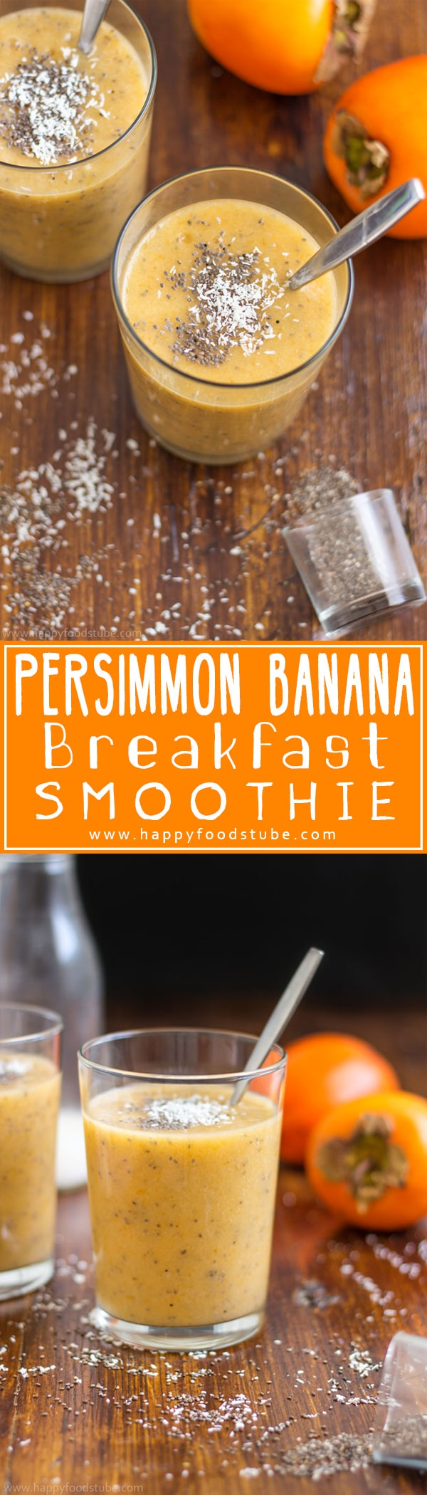 Start your day off with this dairy free persimmon banana breakfast smoothie! It will boost your energy and help you stay healthy! | happyfoodstube.com