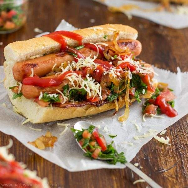 Homemade Gourmet Hot Dog with Bacon and Salsa | happyfoodstube.com