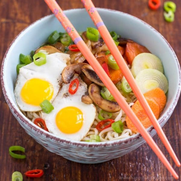 Homemade Vegetable Ramen with Quail Eggs